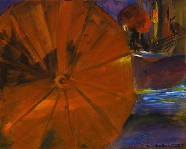 Walking In The Rain Wall Art - Painting - Rainy Night In The City by Pamela Goedhart
