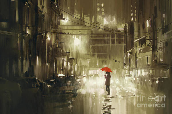 Art Print featuring the painting Rainy Night by Tithi Luadthong