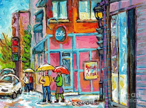 Painting - Rainy Umbrella Day Restaurant Painting Lunch At Linda's Verdun Montreal Cafe Scene C Spandau Artist  by Carole Spandau