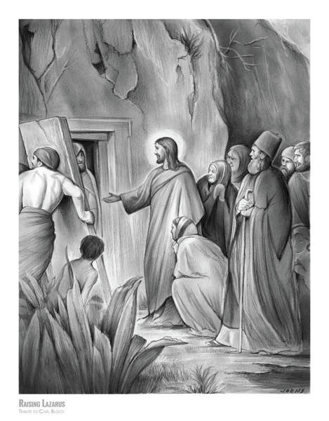 Bible Wall Art - Drawing - Raising Lazarus by Greg Joens