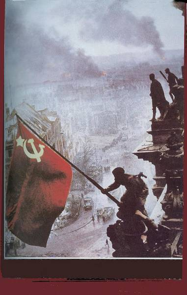 Wall Art - Photograph - Raising The Soviet Flag  On The Reichstag Building Berlin Germany May 1945 by David Lee Guss