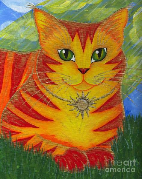 Rajah Golden Sun Cat Art Print