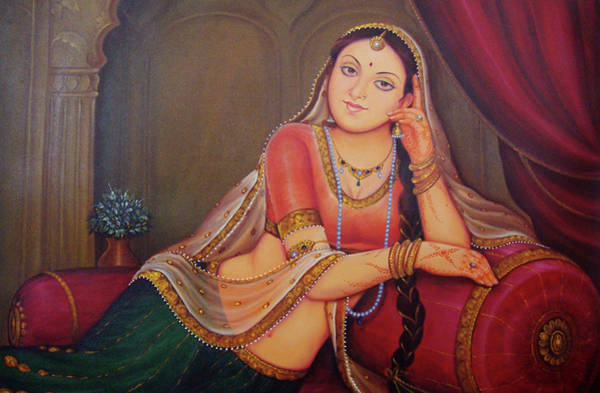 Wall Art - Painting - Rajasthani Art  Lonely Queen Is Waiting For Her Husband To Return From Battle Oil Painting On Canvas by A K Mundra