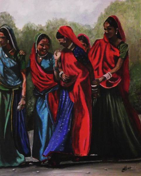 Wall Art - Painting - Rajasthani Village Women by Kim Selig