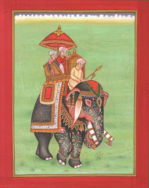 Wall Art - Painting - Rajput King Drawing Elephant Ride Forest Scene Miniature Watercolor Artwork  by A K Mundra
