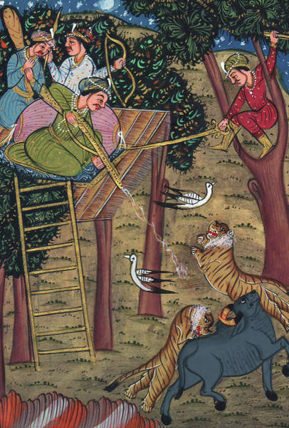 Wall Art - Painting - Rajput King Handmade Painting Drawing Hunting Tiger, Miniature Painting Of India Watercolor by A K Mundra