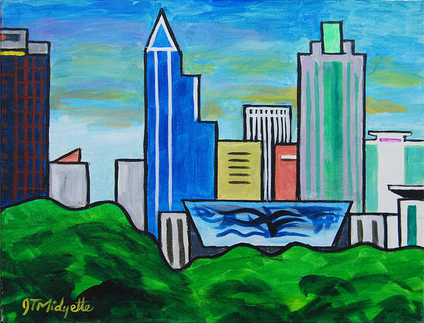 Downtown Raleigh Wall Art - Painting - Raleigh Skyline 3 by Tommy Midyette