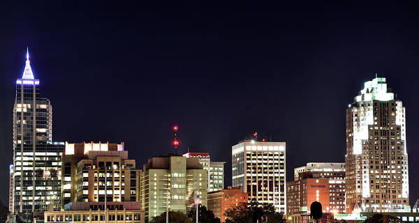 Downtown Raleigh Wall Art - Photograph - Raleigh Skyline At Night - North Carolina by Brendan Reals