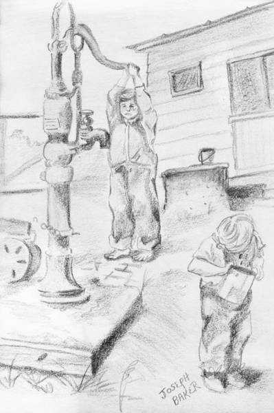Pump Drawing - Ralph And Pat At The Pump by Joseph Baker