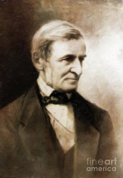 Poetry Painting - Ralph Waldo Emerson, Literary Legend By Mary Bassett by Mary Bassett