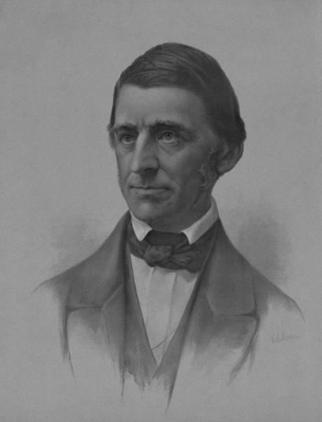 Wall Art - Drawing - Ralph Waldo Emerson Portrait by War Is Hell Store