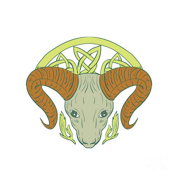 Unbroken Wall Art - Digital Art - Ram Head Celtic Knot by Aloysius Patrimonio