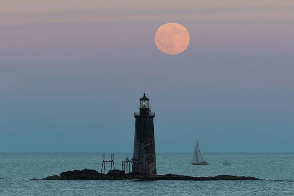 Photograph - Ram Island Light Buck Moon And Sailboat by Colin Chase