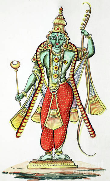 Indian God Painting - Rama, 7th Avatar Of Vishnu by Indian School