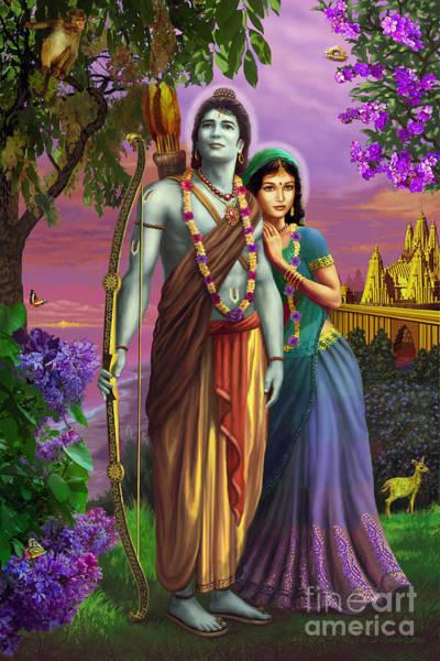 Mixed Media - Rama And Sita  by Vishnudas Art