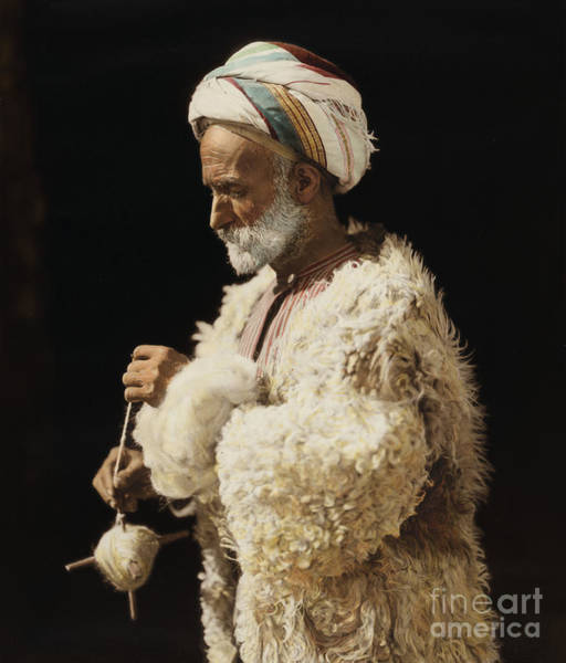 Painting - Ramallah Peasant Spinning Wool by Celestial Images