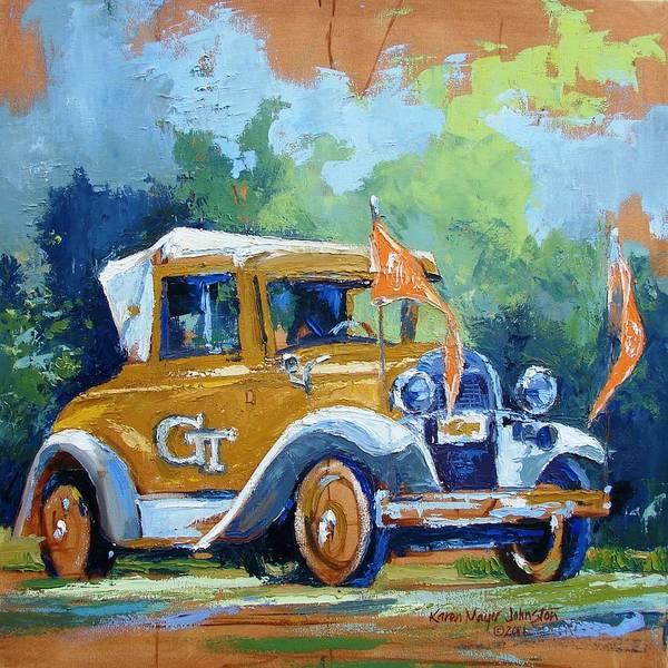 Car Wreck Wall Art - Painting - Ga Tech Ramblin' Wreck - Part Of College Series by Karen Mayer Johnston