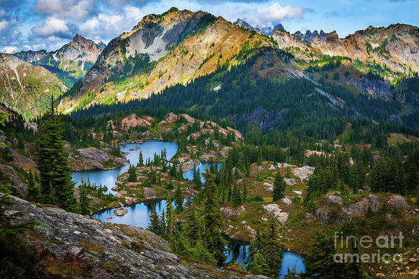 Alpine Lakes Wilderness Photograph - Rampart Lakes by Inge Johnsson