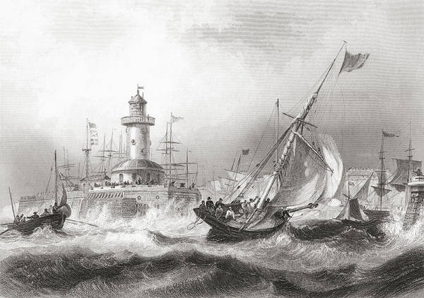 Stormy Drawing - Ramsgate, Kent, England In The 19th by Vintage Design Pics