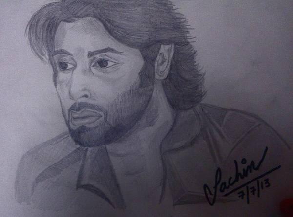 Bollywood Wall Art - Drawing - Ranbir Kapoor Sketch by Sachin Jangra