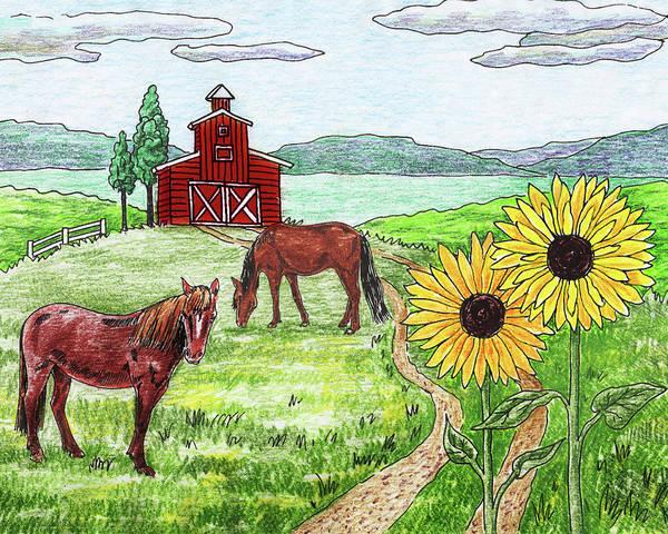 Wall Art - Painting - Ranch Horses Red Barn Sunflowers by Irina Sztukowski