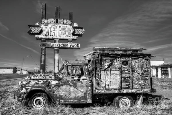 Wall Art - Photograph - Ranch House Truck On Route 66 In Black And White by Twenty Two North Photography