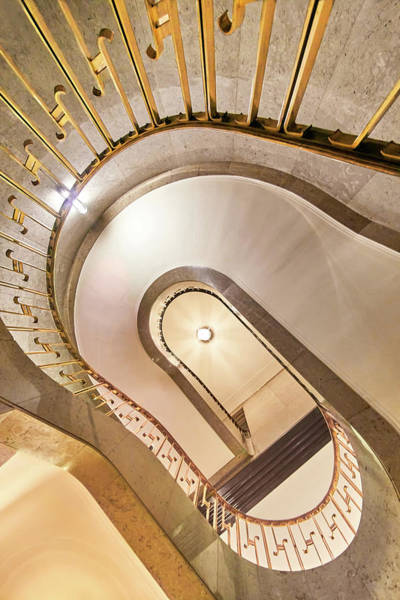 Photograph - Rand Tower Spiral Staircase From Below by Jim Hughes