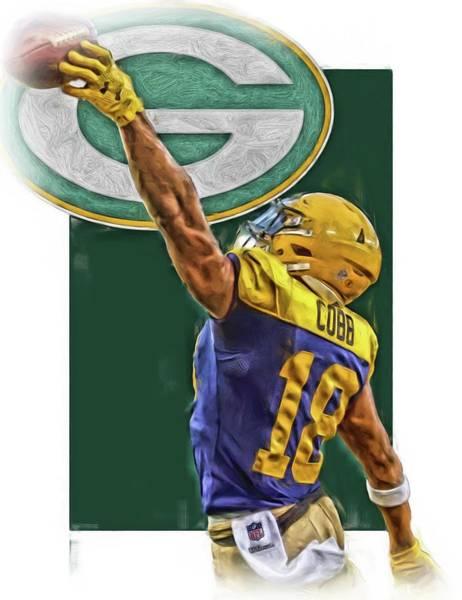 Green Fields Mixed Media - Randall Cobb Green Bay Packers Oil Art 2 by Joe Hamilton