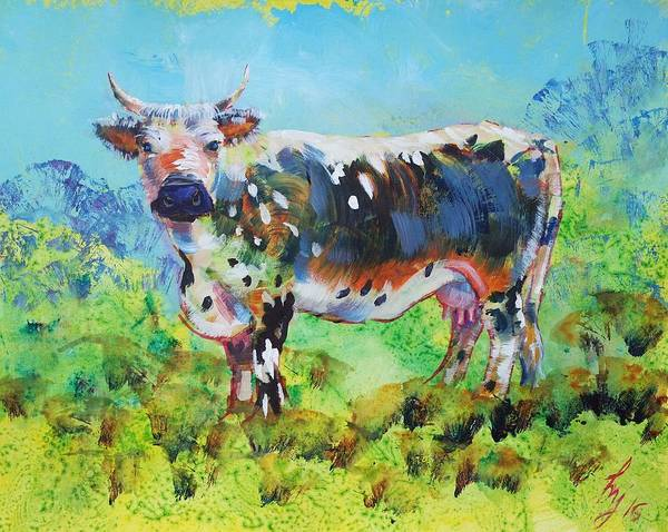 Painting - Randall Lineback Cow by Mike Jory