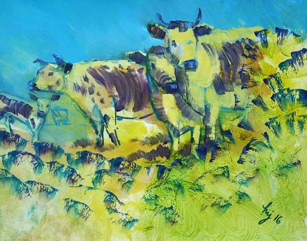 Painting - Randall Lineback Cows by Mike Jory