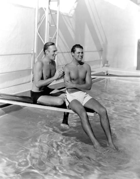 Everett Photograph - Randolph Scott And Cary Grant Poolside by Everett