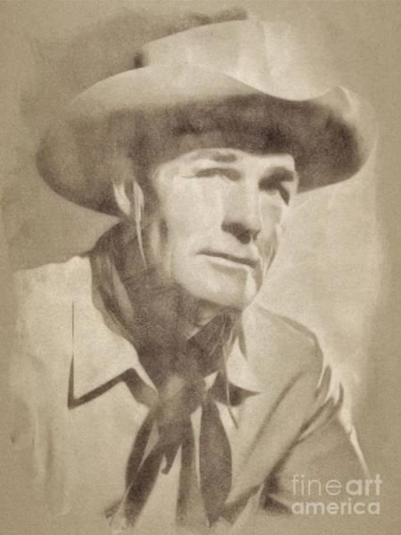 Pinewood Drawing - Randolph Scott, Hollywood Legend By John Springfield by John Springfield