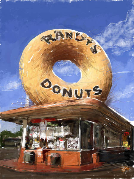 Reflections Mixed Media - Randy's Donuts by Russell Pierce