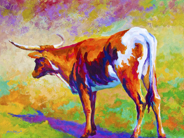 Longhorns Wall Art - Painting - Range Rover II - Texas Longhorn by Marion Rose