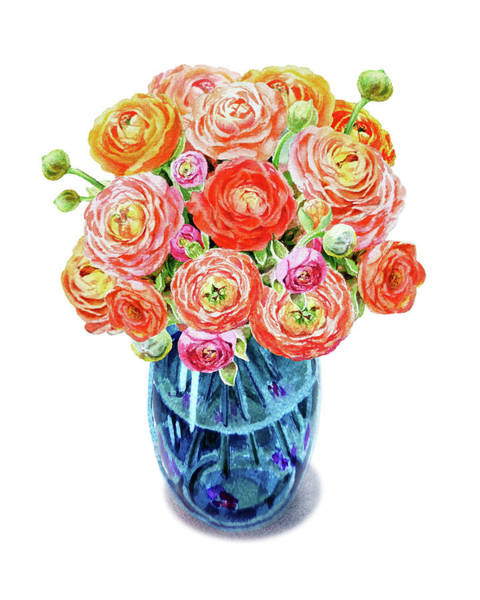 Botanic Painting - Ranunculus Bouquet Blue Vase Watercolor by Irina Sztukowski