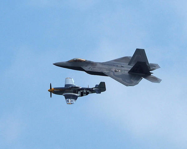 Photograph - Raptor And Mustang In Formation Over Ocean City by Bill Swartwout Photography