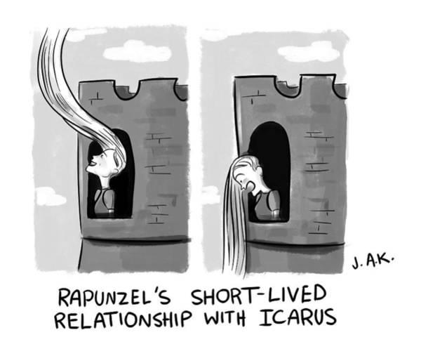 Mythology Drawing - Rapunzel And Icarus by Jason Adam Katzenstein
