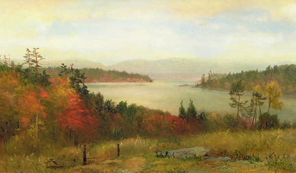 Turning Painting - Raquette Lake by Homer Dodge Martin