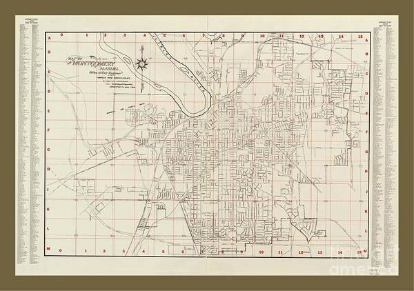 State Of Alabama Painting - Rare Map Of Montgomery Alabama by Pd