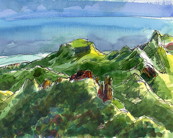 Painting - Rarotonga, Te Kou Mountain View by Judith Kunzle