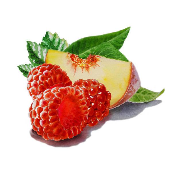 Jam Painting - Raspberries And Peach by Irina Sztukowski