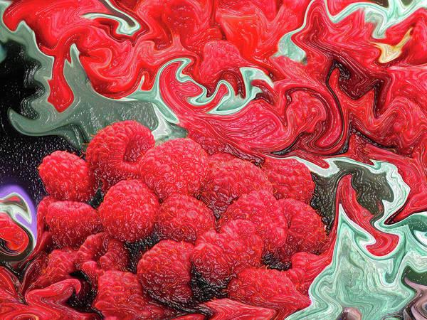 Liquify Photograph - Raspberries by Kathy Moll