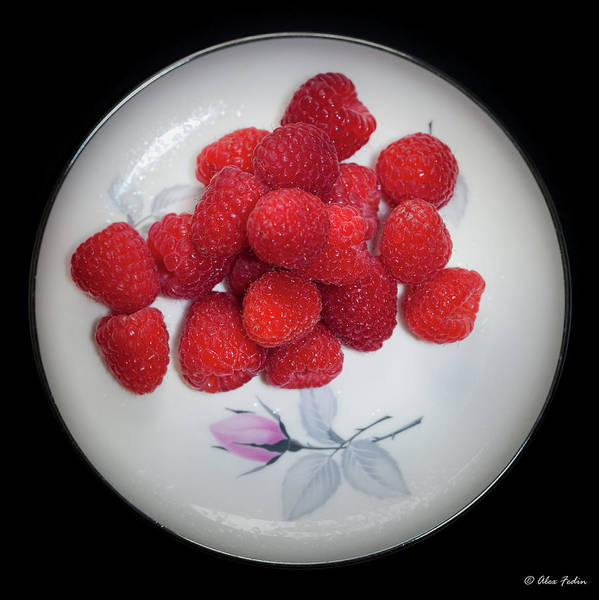 Photograph - Raspberries On A Plate With Violet Flower by Alexander Fedin