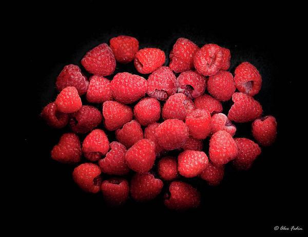 Photograph - Raspberries On Black by Alexander Fedin