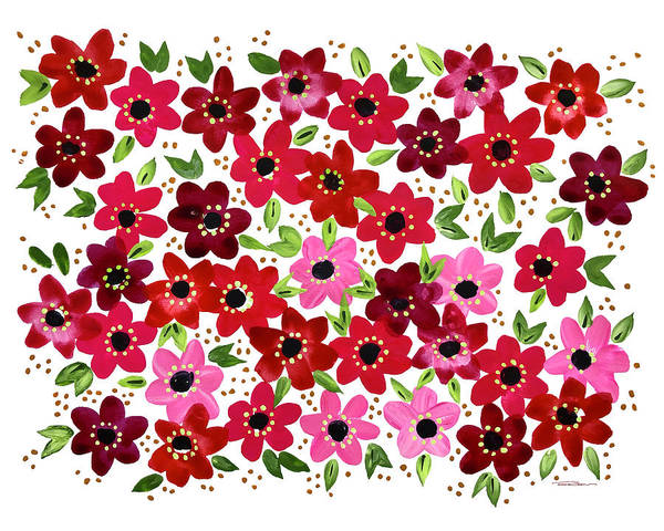 Floral Shower Curtain Painting - Raspberry Fleurs by Roleen Senic