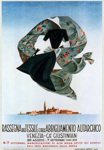 Clothing Mixed Media - Rassegna Del Tessile E Del'abbigliamento Autarchico - Venezia, Italy - Retro Travel Poster by Studio Grafiikka
