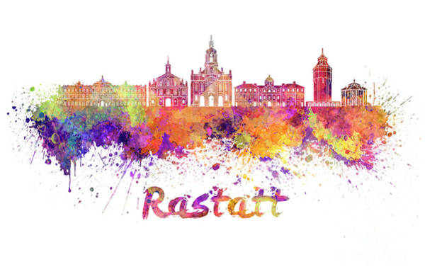 Grand Rapids Painting - Rastatt Skyline In Watercolor Splatters With Clipping Path by Pablo Romero