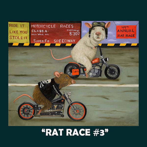 Painting - Rat Race 3 With Lettering by Leah Saulnier The Painting Maniac