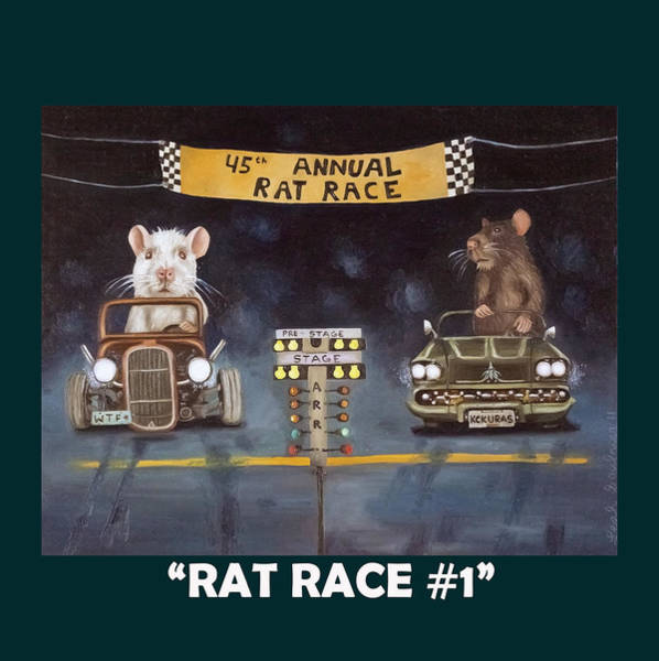 Painting - Rat Race With Lettering by Leah Saulnier The Painting Maniac