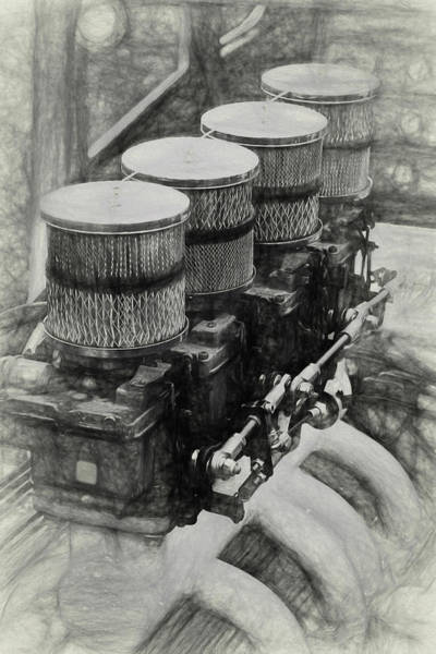 Awesome Show Digital Art - Rat Rod Engine Sketch by Timothy Rohman